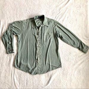 Men's Dior Green Button Down Dress Shirt || 16.5